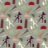 在葡萄酒颜色的旅行女孩无缝的模式 免版税库存图片