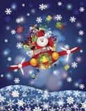 在葡萄酒飞机的圣诞老人和驯鹿飞行 库存图片