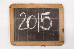 在葡萄酒slateboard写的2015年 免版税图库摄影