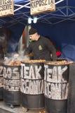 在葬礼节日的食物立场冬天 免版税库存照片