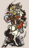 在蒙古氏族和部落之间的争斗 免版税库存照片