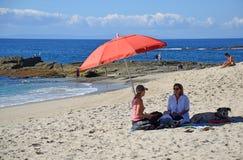 在蒙太奇手段下的海滩在拉古纳海滩,加利福尼亚 库存照片