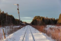 在蒙扎铁路的老动臂信号机在索利加利奇市 免版税库存图片