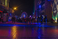 在蒙特利尔en lumiere的夜场面 库存图片