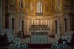 在蒙雷阿莱大教堂里面的基督壁画在巴勒莫附近 库存图片