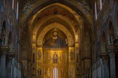 在蒙雷阿莱大教堂里面的基督壁画在巴勒莫附近 图库摄影