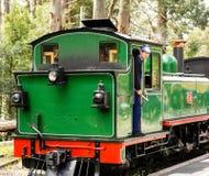 在蒸汽火车的火车司机 库存照片