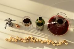 在蒸馏瓶、玻璃和瓶的红葡萄酒 库存图片