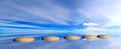 在蓝天和海背景的禅宗石头 3d例证 免版税库存图片