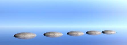 在蓝天和海背景的禅宗石头 3d例证 免版税库存照片