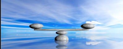 在蓝天和海背景的禅宗石头 3d例证 库存图片