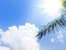 在蓝天和白色云彩的明亮的晴天 库存照片