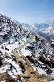 在蓝天和雪山的足迹 免版税库存图片