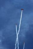 在蓝天的三架体育飞机 免版税库存图片