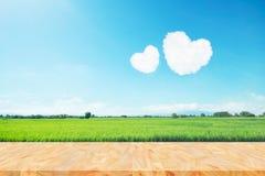 在蓝天的两朵心形的云彩在稻上登陆 库存图片