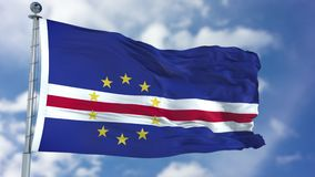 在蓝天的佛得角旗子 免版税库存照片