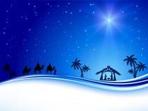 在蓝天的圣诞节星 免版税库存图片