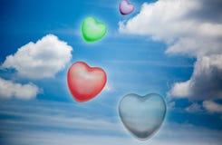 在蓝天的心脏形状 库存图片