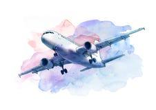在蓝天的白色客机飞行,剪影 库存例证
