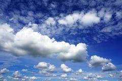 在蓝天的白色松的云彩 库存照片
