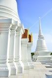 在蓝天的白色stupa 库存照片