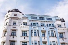 在蓝天的蓝色大厦在索非亚,保加利亚 库存照片