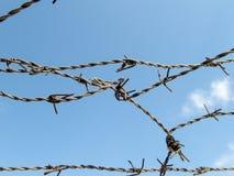 在蓝天的铁丝网丢失了自由监禁难民营概念 免版税库存照片