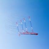 在蓝天的风筝 免版税库存照片