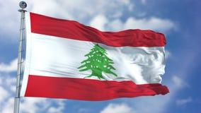 在蓝天的黎巴嫩旗子 库存照片