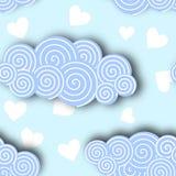 在蓝天背景传染媒介例证的云彩汇集 免版税库存照片