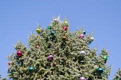 在蓝天背景的圣诞树玻璃状球 免版税图库摄影