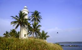 在蓝天背景的老灯塔由棕榈围拢 免版税库存照片