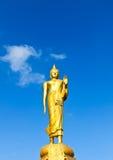 在蓝天背景的菩萨雕象 免版税库存照片