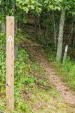 在蓝岭山行车通道的两个阿巴拉契亚足迹标志 图库摄影