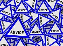 在蓝色三角路标的很多忠告 向量例证