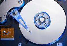 在蓝色光的硬盘驱动器 免版税库存图片