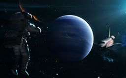 在蓝色光的行星海王星 剪报地球重点水银路径太阳系金星 科幻艺术 图象的元素由美国航空航天局装备 免版税库存照片