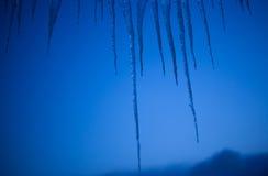 在蓝色冬天天空黄昏的冰柱 免版税库存图片