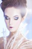 在蓝色冬天背景的秀丽妇女 冬天 免版税库存照片