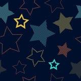 在蓝色几何无缝的样式,传染媒介的五颜六色的简单的镶边和被溺爱的星 库存例证