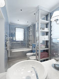 在蓝色口气的卫生间古典样式 库存图片