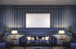 在蓝色口气的当代内部与沙发和镶边墙纸 3d翻译 免版税库存照片