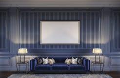 在蓝色口气的当代内部与沙发和镶边墙纸 3d翻译 免版税库存图片