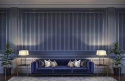 在蓝色口气的当代内部与沙发和镶边墙纸 3d翻译 免版税图库摄影
