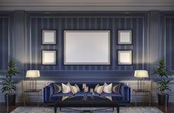 在蓝色口气的当代内部与沙发和镶边墙纸 3d翻译 库存图片