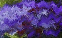 在蓝色口气的波浪带 在画布的油画 免版税库存照片