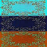 在蓝色和土气棕色颜色的抽象花卉主题拼贴画 免版税库存图片