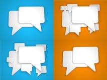 在蓝色和橙色背景的空白的讲话泡影 库存照片