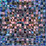 在蓝色和珊瑚正方形的冬天抽象背景 库存照片