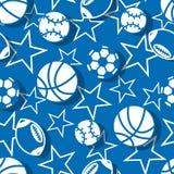 在蓝色和白色无缝的样式的体育球 免版税库存图片